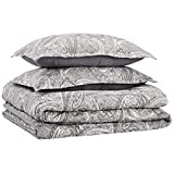 AmazonBasics Comforter Set, King, Grey Paisley, Microfiber, Ultra-Soft