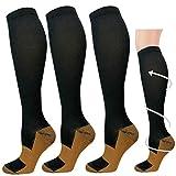 3 Pairs Copper Compression Socks for Men & Women 20-30 mmHg Medical Graduated Compression Stockings for Sports Running Nurses Shin Splints Diabetic Flight Travel Pregnancy (Black, S/M)