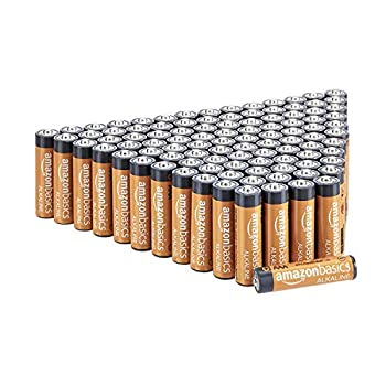Amazon Basics 100 Pack AAA High-Performance Alkaline Batteries 10-Year Shelf Life Easy to Open Value Pack