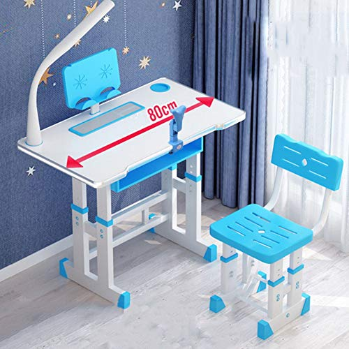 Kids Study Desk and Chair Set, School Bedroom Student Writing Desk W/Pull Out Drawer Storage, Height Adjustable Kids Desk and Chair Set,Ergonomic Student Writing Desk for Studyingblue