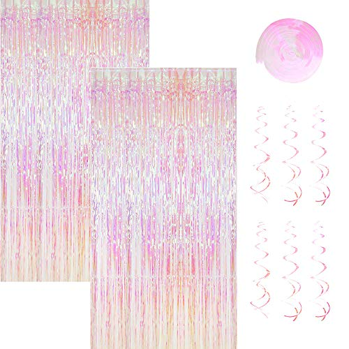 2 Pack 1 * 2,45m Metallic Lametta Vorhänge mit 6 Stücke Deko Spiralen Girlande,Folie Vorhang Fransen Vorhänge,Lametta Vorhänge Dekoration für Weihnachten Geburtstag Hochzeit Hintergrund Photo