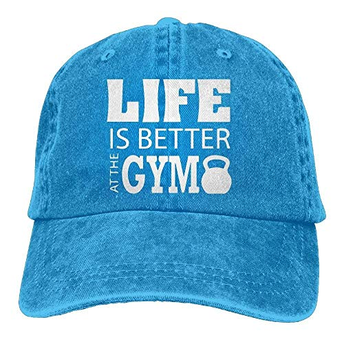 Hoswee Unisex Kappe/Baseballkappe, 2018 Adult Fashion Cotton Denim Baseball Cap Life is Better at The Gym-1 Classic Dad Hat Adjustable Plain Cap