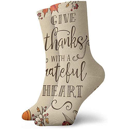 Be-ryl Happy Thanksgiving Grateful Heart Crew Socks Outdoor Socks for Unisex