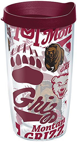 Tervis 1264641 Montana Grizzlies All Over Tumbler with Wrap and Maroon Lid 16oz, Clear