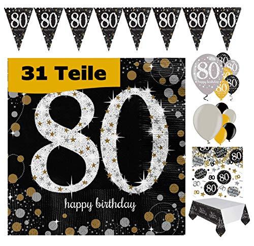Feste Feiern Geburtstags-Deko 80. Geburtstag 31 Teile Party-Set Luftballon Wimpel Girlande Konfetti Serviette Tischdecke Gold Schwarz Silber metallic Happy Birthday 80