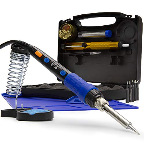YIHUA 928D Soldering Iron Kit, 65W Soldering Iron, Fully Digital, Display °F/°C, Temperature Control, Accuracy 194~896℉- Soldering Kit with Sleep Function, Temp. Correction Function, Holder &more.