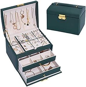 YUNLILI Organizador de joyería de Tipo de cajón de Tres Capas de Tres Capas Pendientes de Cuero de PU Anillo de Anillo Caja de Almacenamiento de Joyas para Regalo Femenino, Blanco