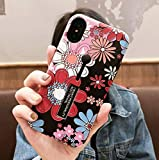 Hosgor iPhone Xs Max Cases with Finger Grip, 3D Embossed Floral Design Rugged Support Phone Case, Ultra-Thin Shockproof Double-Layer Ring Bracelet Bracelet for iPhone Xs Max