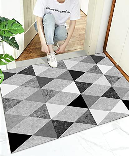 Felpudo de Entrada,Geométrico Blanco 60x90cm,Alfombra de Puerta Dirt Trapper para Interior Exterior,Alfombra de Antideslizante Lavable,Absorbentes Alfombra de Entrada para Pasillo,Baño,Dormitorio