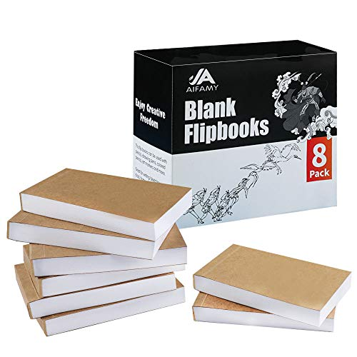 8 Pack Blank Flipbook for Animation, Sketching, and Cartoon Creation, 4.5x2.5'' Animation Flip Book with Sewn Binding Mini Sketch Pad for Kids, 192 Pages (96 Sheets)