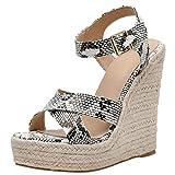 LuckyGirls Chic Sandalias Mujer Plataforma Cuña Verano 2020 Serpentino Zapatos Mujer Tacon Altas Elegantes Alpargatas Sandalias de Mujer Fiesta Vestir Punta Abierta Correa del Lazo Hebilla