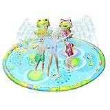 Herefun Splash Pad, 145CM Wasserpark Sprinkler Play Matte, Splash Pad & Spielzeug Sprinkler, Wasserspielzeug Garten für Kinder, Spielmatte Outdoor Wasser-Spielmatte Baby Pool Spritzen Spielzeug