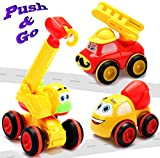 Toys for a 2 Year Old Boy - 3 Friction Powered Trucks for 2+ Year Old Boys, Push & Go Cars Cartoon...