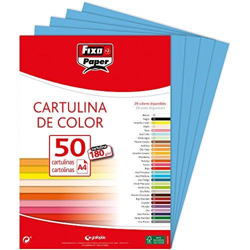 Fixo Paper 11110331 – Paquete de 50 cartulinas A4– cartulina color azul claro, 180g