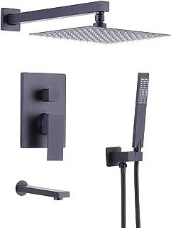 KES Pressure Balancing Shower System Trim Kit Shower Valve with Tub Faucet Spout Set Handheld and 10 Inch Rainfall Shower Head Combo All Metal Matt Black XB6300-BK