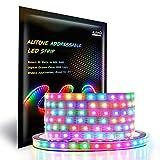 ALITOVE 16.4ft 300 LEDs WS2812B Individually Addressable 5050 RGB LED Strip Light LED Pixel Flexible Lamp Tube Waterproof IP67 White PCB