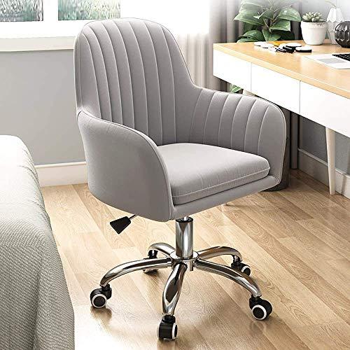 Silla de oficina ajustable ergonómica, giratoria de 360°, para el hogar, cómoda silla de escritorio sin brazos para sala de estar, dormitorio, recepción, sala de conferencias, gris