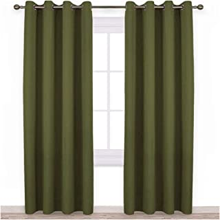 NICETOWN 84 inches Bedroom Curtains Panels - Functional Christmas Window Decorative Blackout Drapes for Bedroom, Thermal Insulated, Privacy Assured (Set of 2, 52 x 84 inches in Olive Green)
