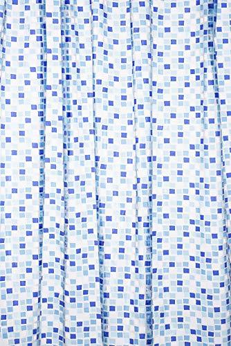 Croydex AE543424 - Cortina de Ducha de PVC con diseño de Mosaico (1,8 x 1,8 m), Color Azul