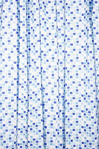 Croydex - Tenda per doccia mosaico in PVC, colore: blu