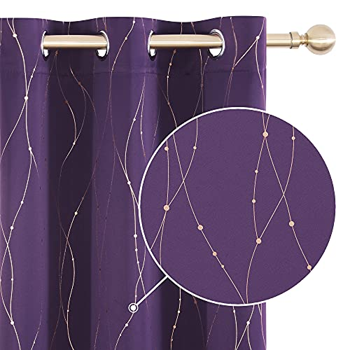 Deconovo Blackout Purple Gold Curtains for Bedroom and Living Room, 84 Inch Length - Thermal Insulated Drapes (42 x 84 Inch, Purple Grape, 2 Panels) Gold Wave Line and Dots Printed