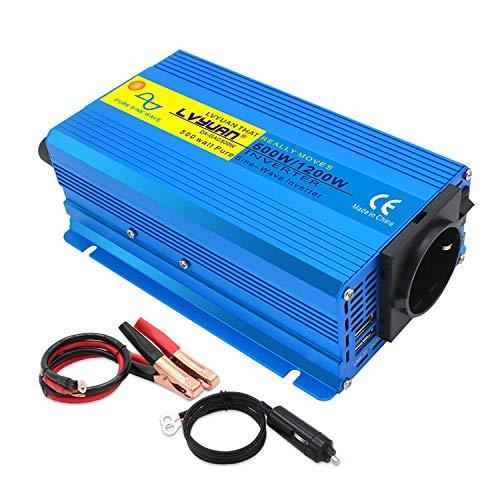 Yinleader Wechselrichter 500W / 1200W 12V 230V Reiner Sinus Spannungswandler Umwandler Power Inverter mit 1 Steckdose 2 USB Anschlüsse