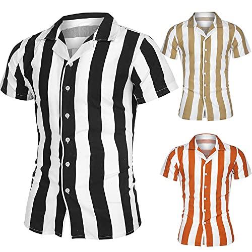 カジュアルなビジネスシャツ、男性は襟の半袖垂直方向の縞模様のボタンスリムなシャツ、ファッションの男性のトップスの男性の服