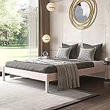 Cama de Madera Matrimonial 160x200 cm - Base de Cama de Madera - Diseño nórdico-hasta 700 kg -...