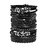 Milakoo Leather Bracelet Black Braided Wide Wristband Women Men Punk Jewelry Skull