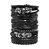 MILAKOO 10 Pcs Men Lederarmband Punk Geflochtenen Seil Alloy Bracelet Bangle Wristband