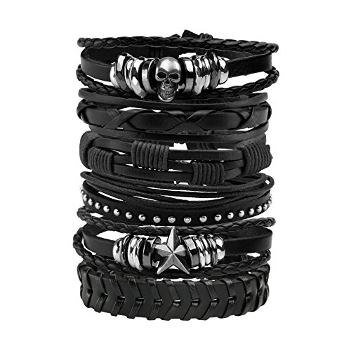 MILAKOO 6 Pcs Leather Bracelet Black Brown Braided Wide Wristband Women Men Punk Jewelry Skull