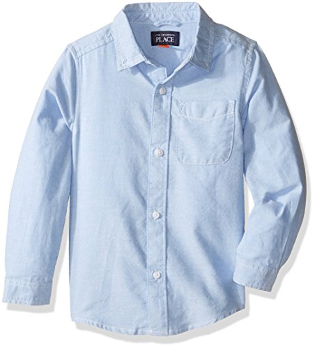 The Children's Place baby boys Solid Long Sleeve Oxford School Uniform Button Down Shirt, Ltbluoxfrd 5070, 5T US
