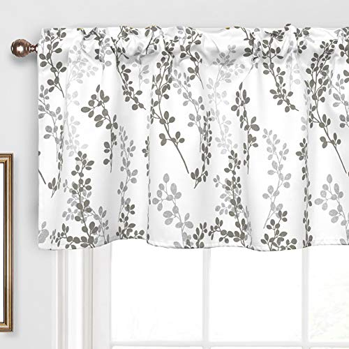 Th3mys Tree Leaves Valance for Windows Botanical Printed Valance Rod Pocket Window Curtain Valance for Living Room Bedroom Kitchen Curtain 52 by 18 Inch Gray