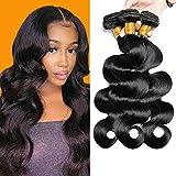 Brazilian Hair Body Wave Weave Bundles 16 18 20 Body Wave Human Hair Bundles 100% Unprocessed Remy Hair 3 Bundles(Natural Black, 16 18 20)