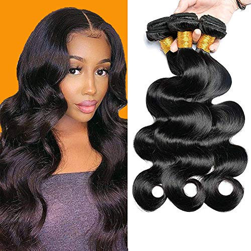 Virgin Hair Body Wave Bundles - 10 12 14 Body Wave Brazilian Human Hair Bundles 100% Unprocessed Remy Hair(Natural Black, 10 12 14)