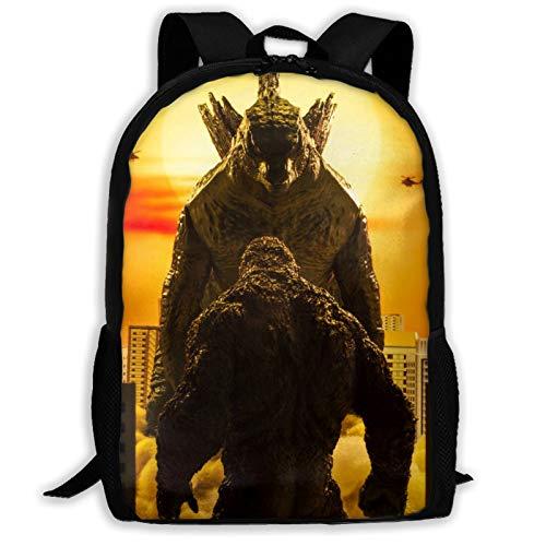 Yaqnsht Mochila de alta capacidad para adultos God-Zi-Lla de 17 pulgadas, bolsa de la escuela, casual, viajes, senderismo, mochila de día