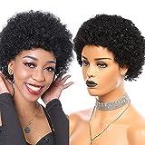 TOOCCI Peluca corta y rizada 100% pelucas de cabello humano para mujeres negras Peluca corta de cabello humano afro rizado 8A Peluca brasileña