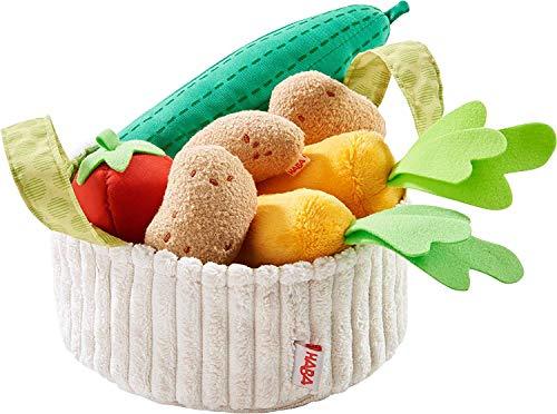 HABA 304230 - Gemüsekorb, Zubehör für Kaufladen und Kinderküche, Korb mit Gurke, Tomate, Karotten und Kartoffeln aus Stoff, Spielzeug ab 3 Jahren