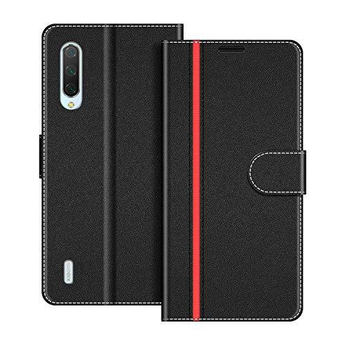 COODIO Funda Xiaomi Mi 9 Lite con Tapa, Funda Movil Xiaomi Mi 9 Lite, Funda Libro Xiaomi Mi 9 Lite Carcasa Magnético Funda para Xiaomi Mi 9 Lite, Negro/Rojo