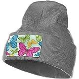Myrna Kelse Vert Floral Flying Butterfly Knit Cap Durable Stretch Beanie Hat Heavyweight Watch Hat Thermal Knit Hat pour Les Coureurs étudiants