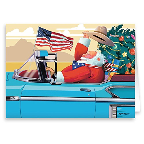 All American Santa - American Flag, Cowboy Hat & Classic Car - 18 Christmas Cards and Envelopes (Standard)