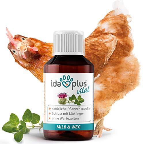 Ida Plus – MiLB & Weg 100 ml – Ergänzungsfuttermittel mit natürlichen Pflanzenextrakten – besonders gut für Hühner, Puten, Gänse, Enten & anderes Geflügel – Schluss mit Lästlingen – 1:1000 Konzentrat