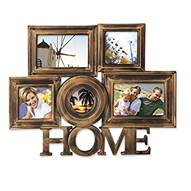 Adeco 5 Openings Anqtique Bronze  Home  Wall hanging Family Collage Picture Photo Frame - Made to Display Two 4x6, Two 4x4, One 3x3 Photos