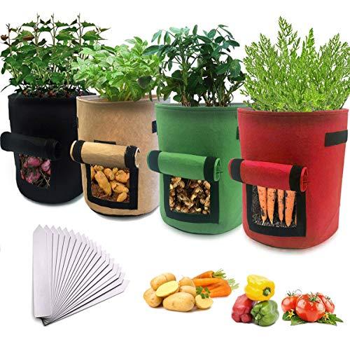 Pflanzenanbau-Beutel, Bst4UDirect-Tomaten, Kartoffeln, Erdbeeren, Blumen, Obstanbaubehälter, Gartenbelüftete Pflanzen Pflanzbeutel (4er Pack) + 20 Pflanzengarten-Etiketten