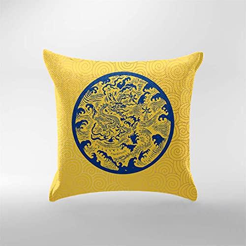 Funda De Almohada De Impresión China, Funda De Almohada Rosa Y Azul, Adecuada para La Decoración del Jardín De La Oficina De La Sala De Estar del Sofá, con Funda De Almohada con Cremallera Oculta