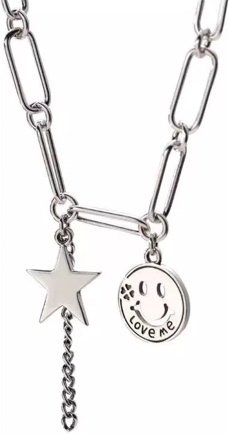 Necklace Pendant Star Smiling Face Chain Tassel Necklace for Women Vintage Jewelry collares Christmas Mother's Day Valentine's Day Birthday Gift