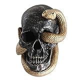 ifundom Calavera de Halloween con Diseño Mamba Negra Ojos de Serpiente Estatuilla Escultura de Halloween Decoración Calavera Fiesta Decoración