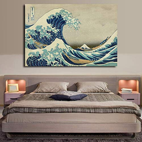 MZCYL Rompecabezas 1000 Piezas La Gran Ola En Kanagawa De Katsushika Hokusai Póster De Paisaje Marino Artfor Adults Juegos para Niños Juguetes Educativos MZ2080