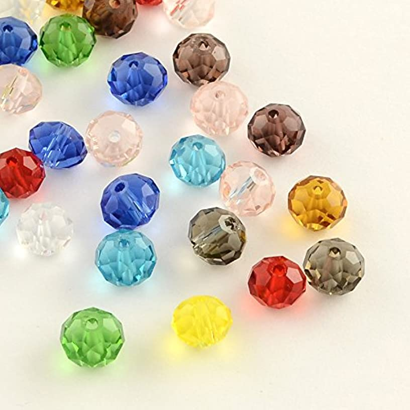 PEPPERLONELY 200PC Mixed Color Faceted Transparent Rondelle Glass Beads 4x3mm