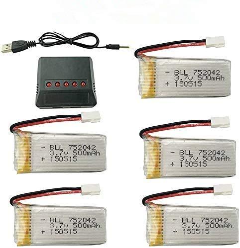 ZYGY 5x3.7V 500mAh Akku&Ladegeräte für JJRC H31 H37 H6D Hubsan X4 FPV H107C H107D H107L H107P H108 JXD392 JXD388 JXD385 UDI U816A SYMA X5C X5SW HS170 HS170C HS170G F180W F180C TR-C385 TR-P51 TR-F22